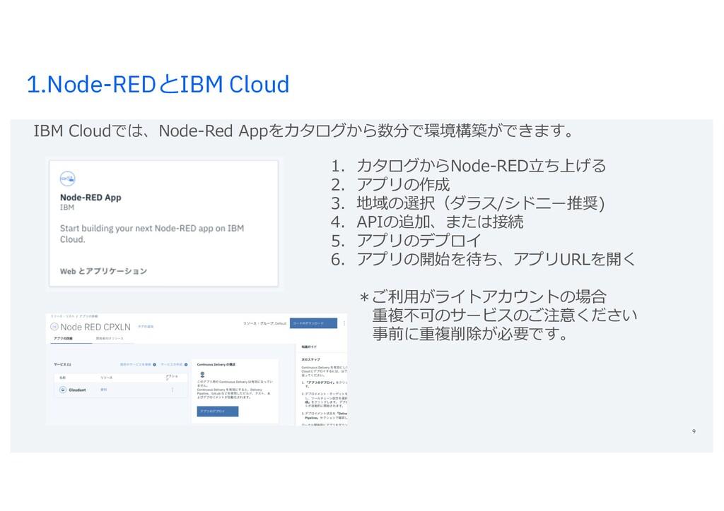 1.Node-REDとIBM Cloud 9 1. カタログからNode-RED⽴ち上げる 2...