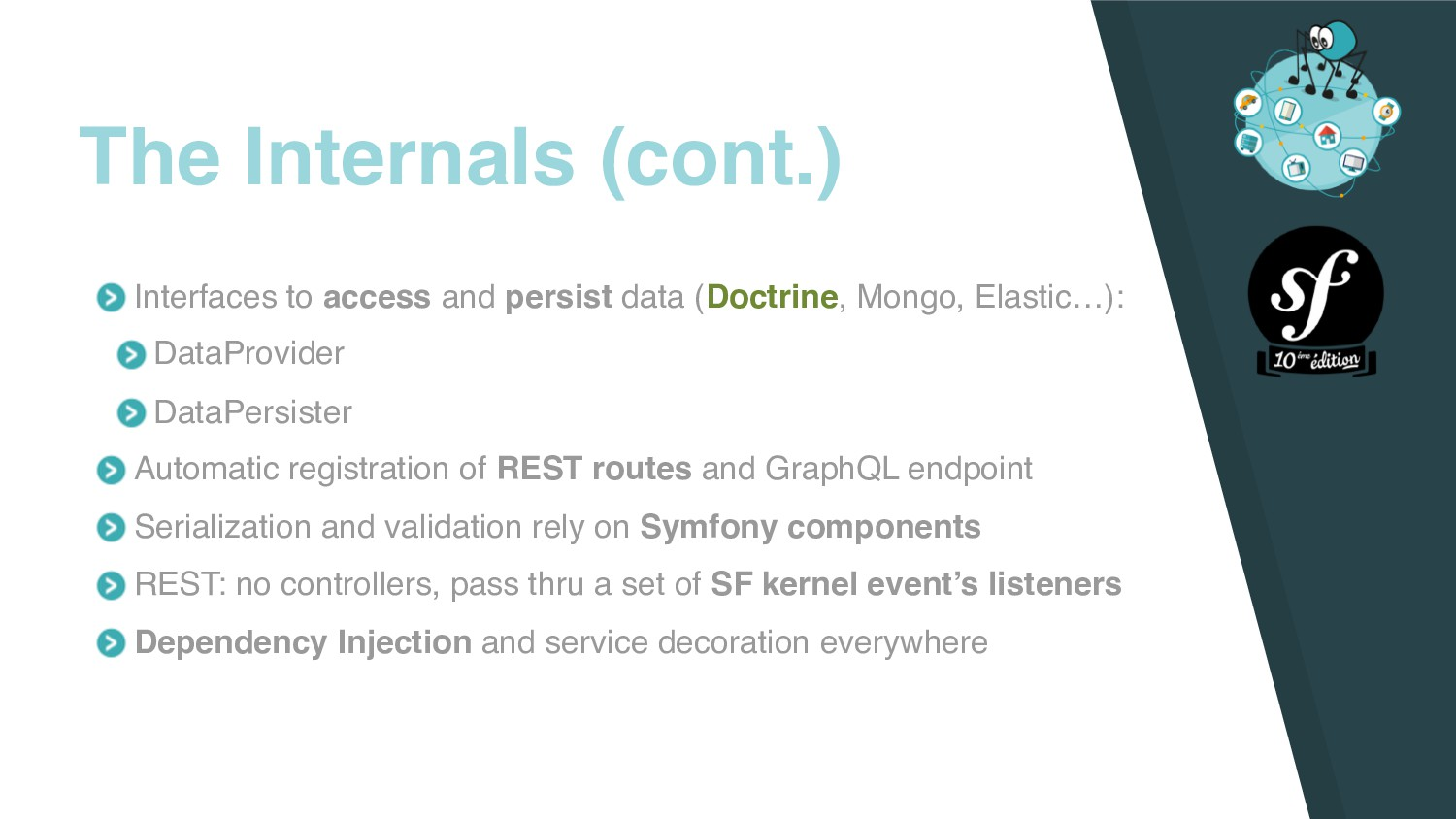 Interfaces to access and persist data (Doctrine...