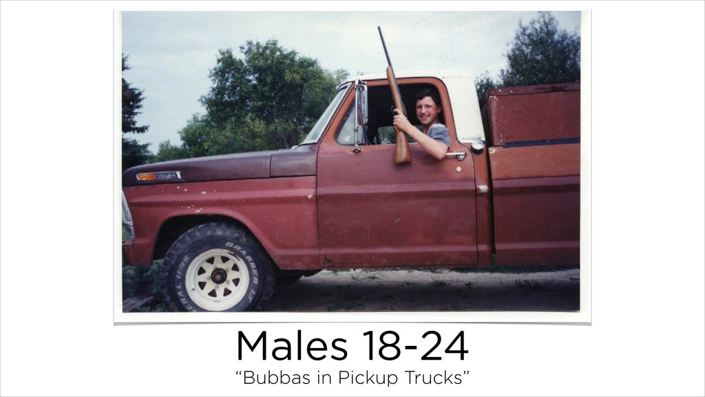 "Males 18-24 ""Bubbas in Pickup Trucks"""