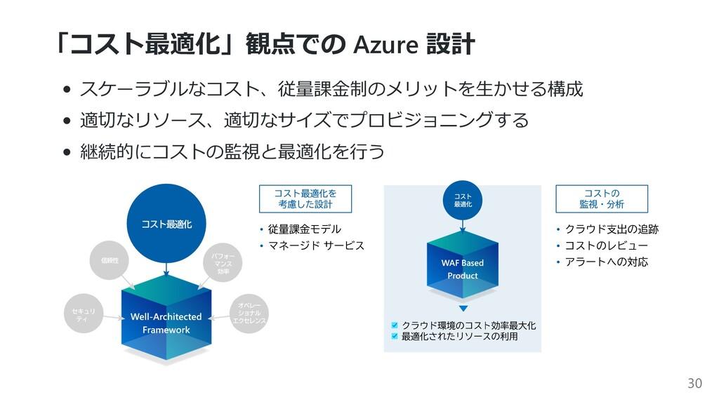 「コスト最適化」観点での Azure 設計 スケーラブルなコスト、従量課⾦制のメリットを⽣かせ...