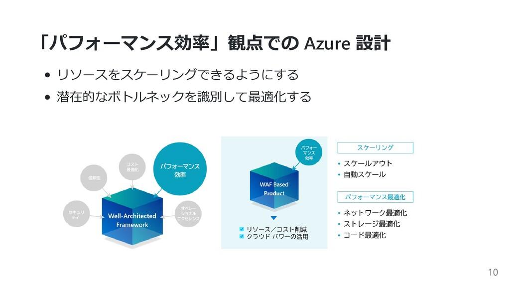 「パフォーマンス効率」観点での Azure 設計 リソースをスケーリングできるようにする 潜在...