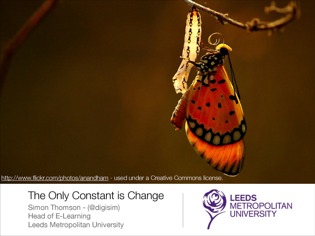 The Only Constant is Change Simon Thomson - (@d...
