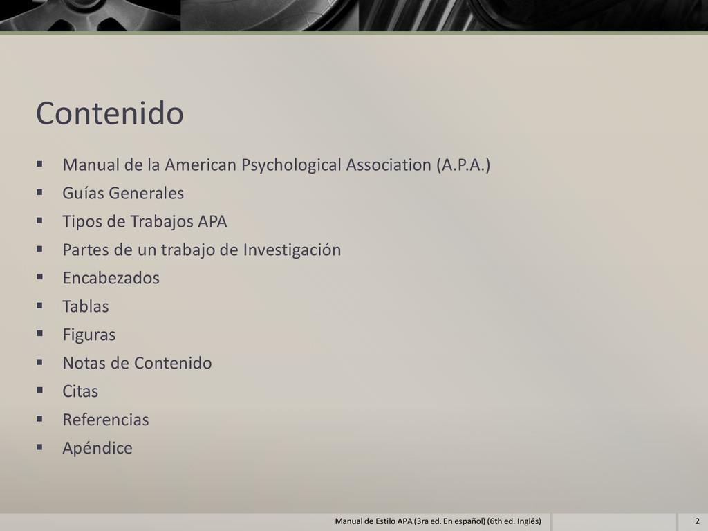 Contenido  Manual de la American Psychological...
