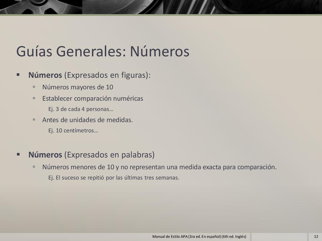 Guías Generales: Números  Números (Expresados ...