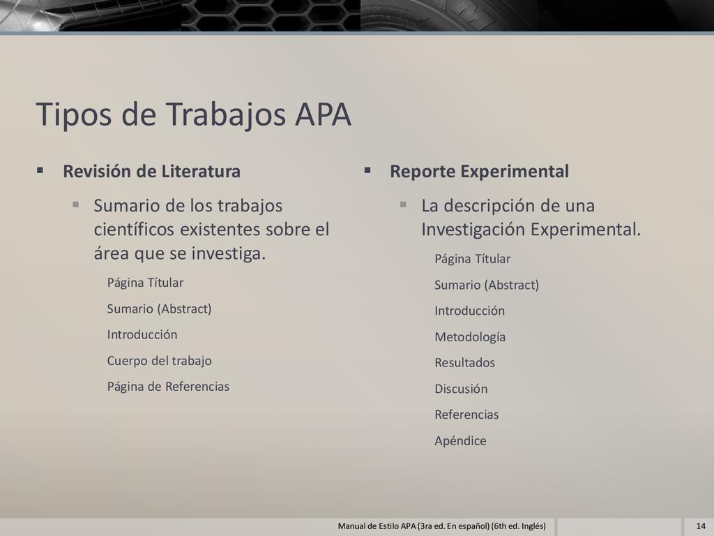 Tipos de Trabajos APA  Revisión de Literatura ...