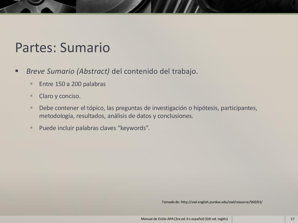 Partes: Sumario  Breve Sumario (Abstract) del ...