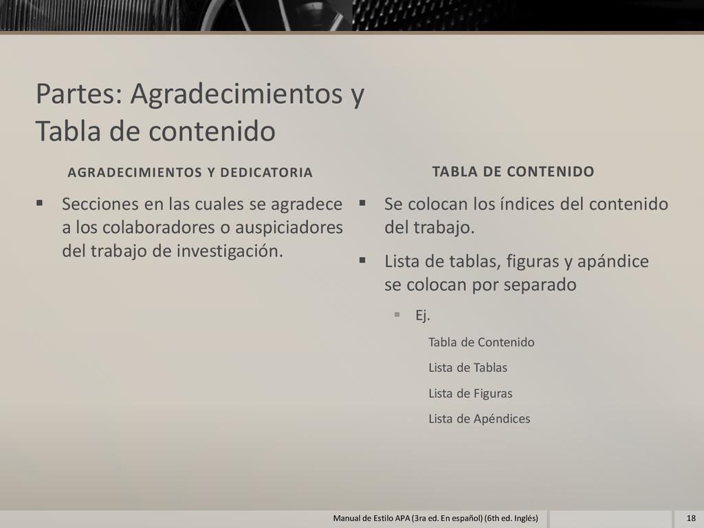 Partes: Agradecimientos y Tabla de contenido AG...