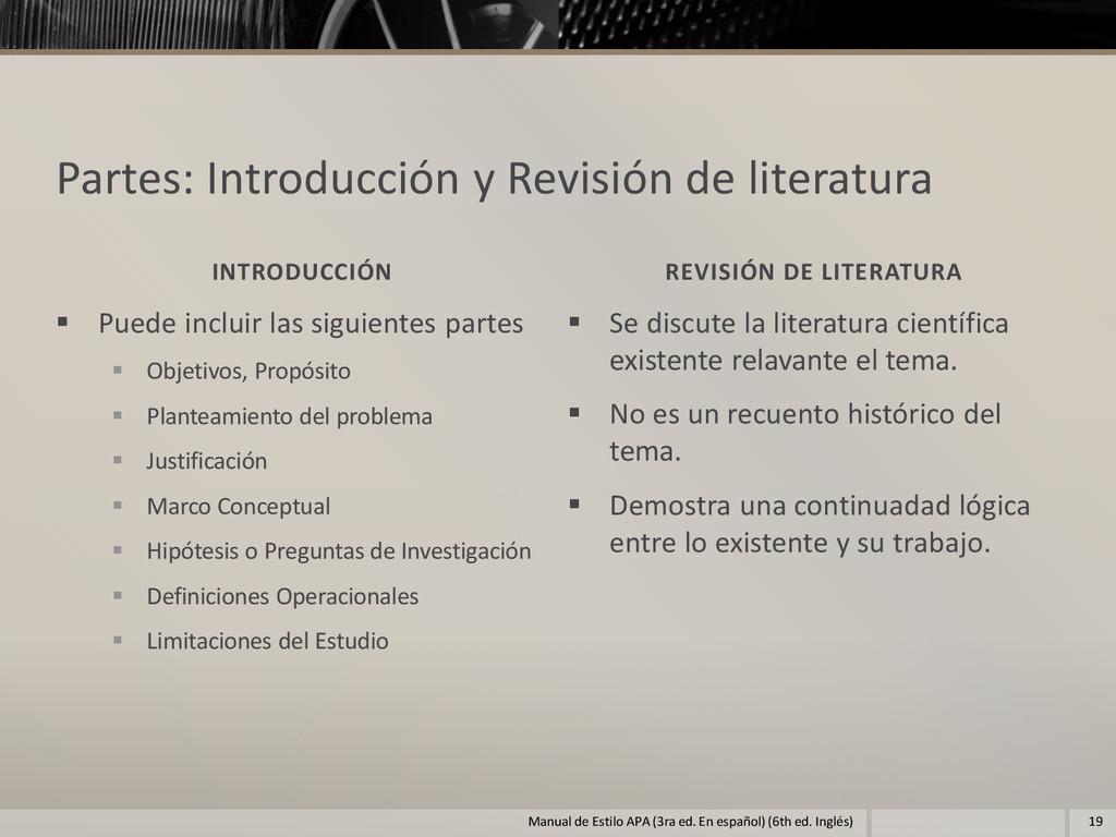 Partes: Introducción y Revisión de literatura I...