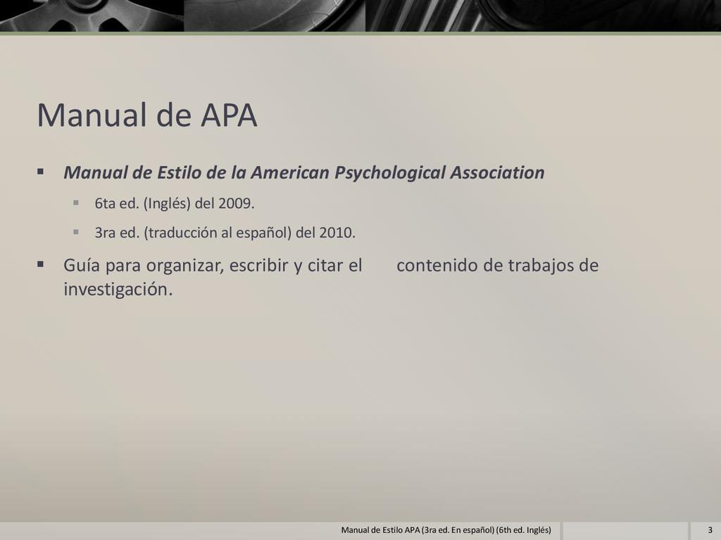 Manual de APA  Manual de Estilo de la American...