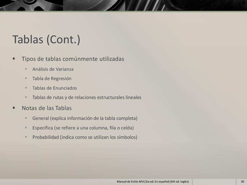 Tablas (Cont.)  Tipos de tablas comúnmente uti...