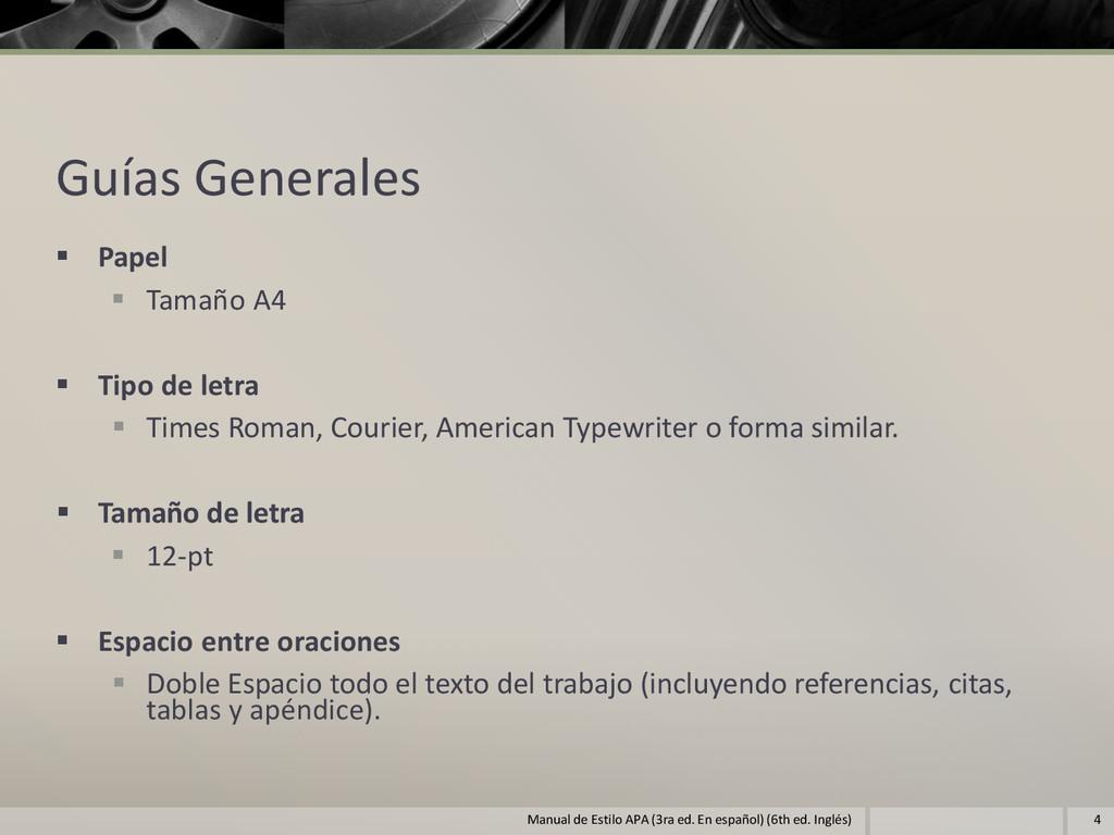 Guías Generales  Papel  Tamaño A4  Tipo de l...