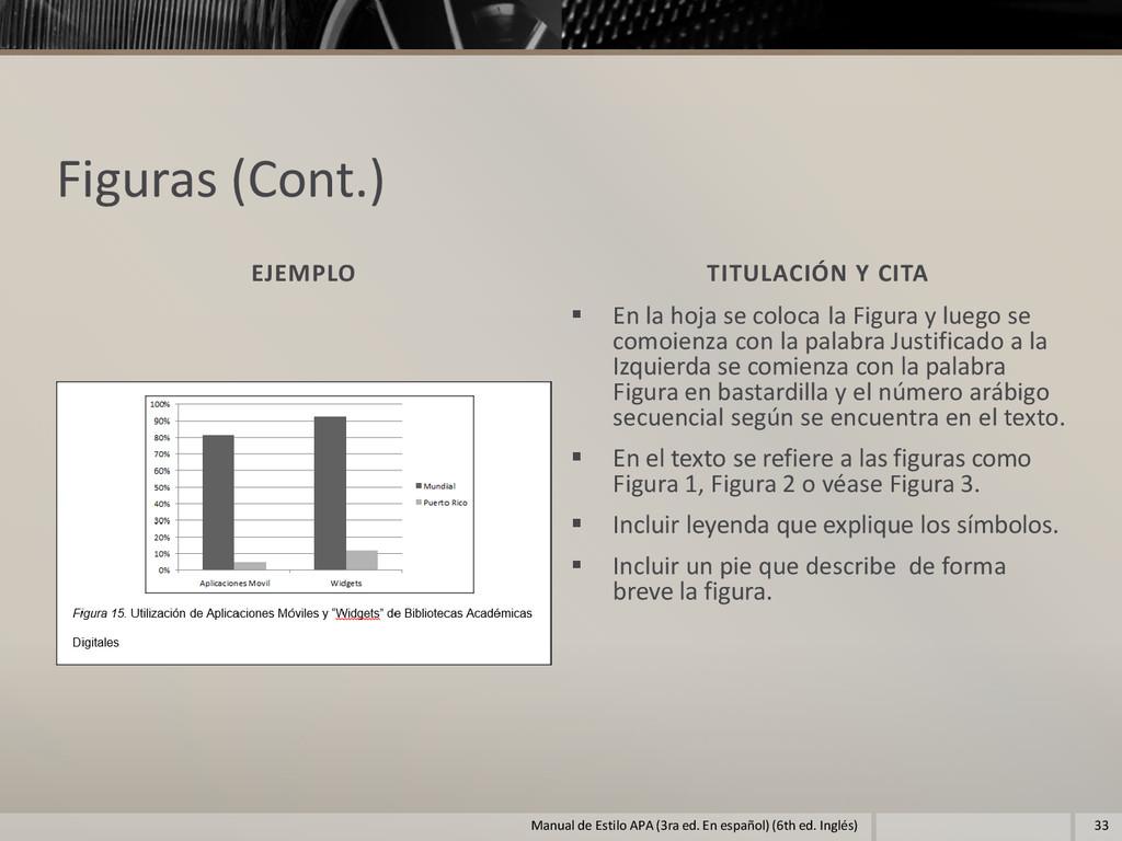 Figuras (Cont.) EJEMPLO TITULACIÓN Y CITA  En ...