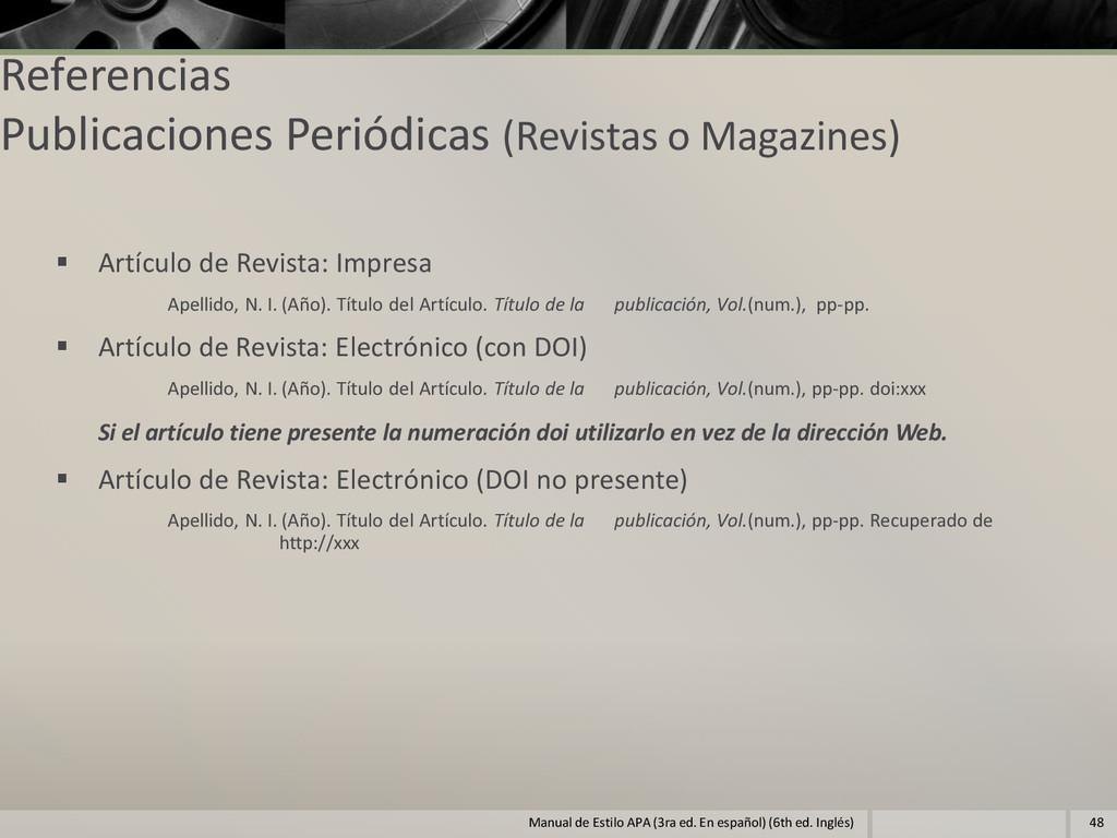 Referencias Publicaciones Periódicas (Revistas ...