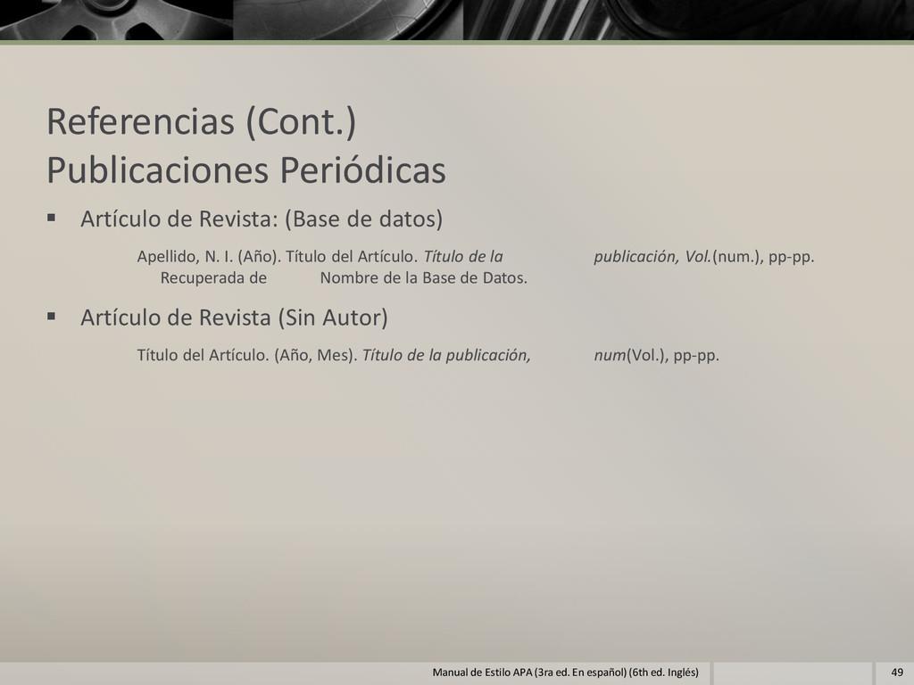 Referencias (Cont.) Publicaciones Periódicas  ...