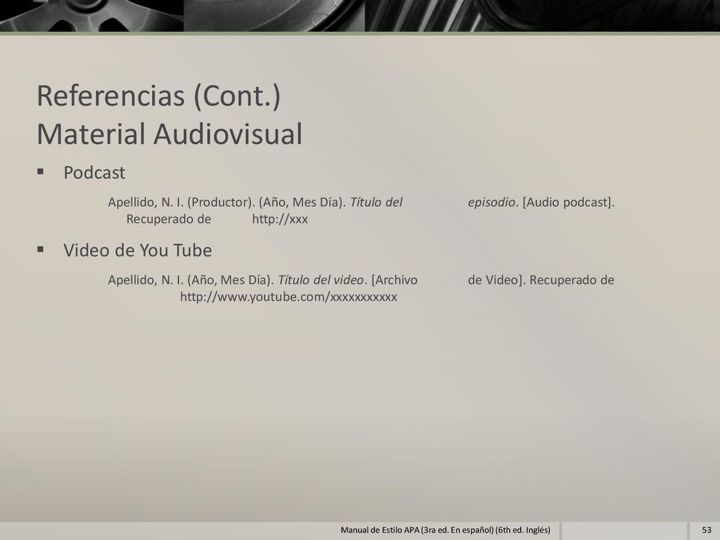 Referencias (Cont.) Material Audiovisual  Podc...