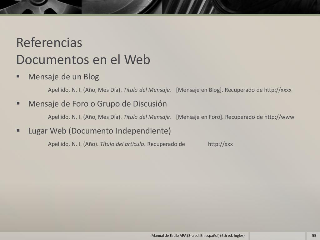 Referencias Documentos en el Web  Mensaje de u...