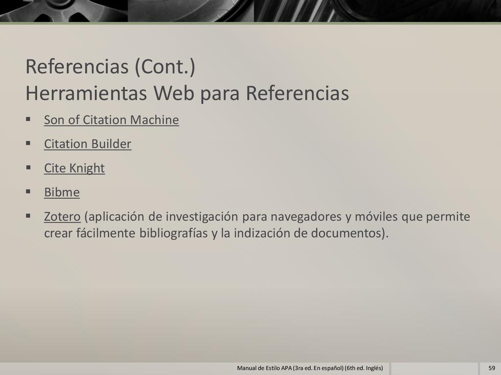 Referencias (Cont.) Herramientas Web para Refer...