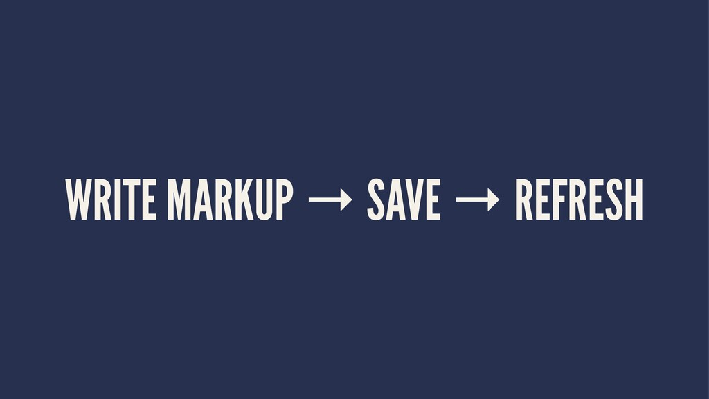 WRITE MARKUP → SAVE → REFRESH