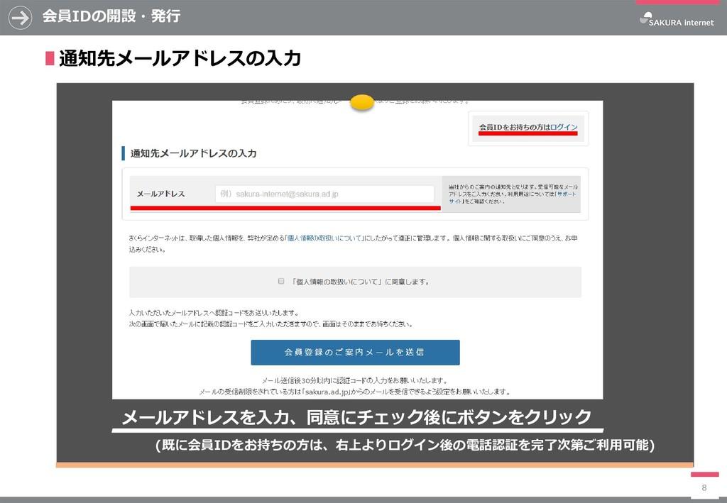 会員IDの開設・発行 8 ∎通知先メールアドレスの入力 (既に会員IDをお持ちの方は、右上より...