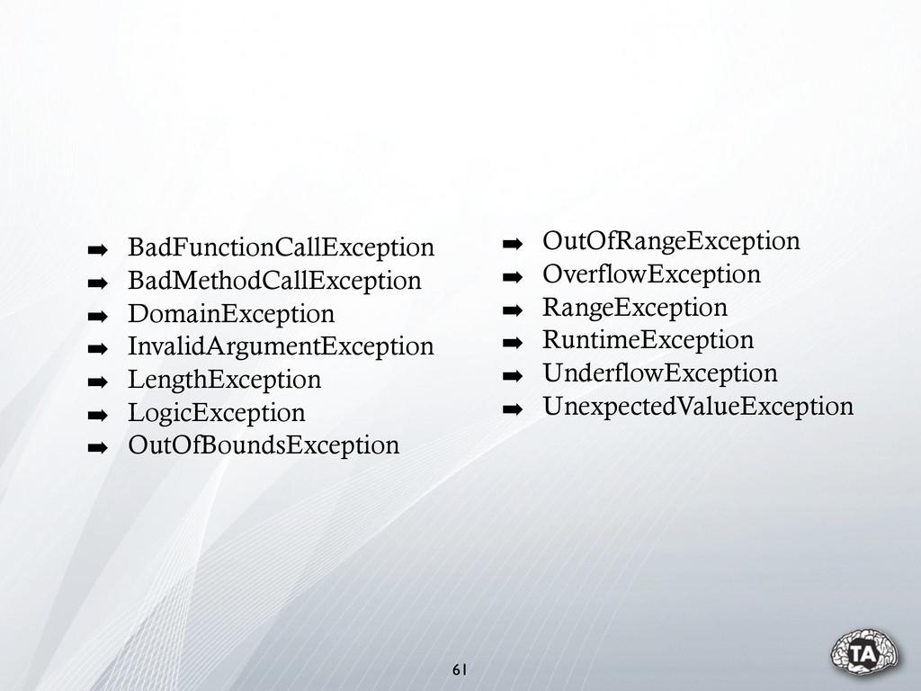 ➡ BadFunctionCallException ➡ BadMethodCallExcep...
