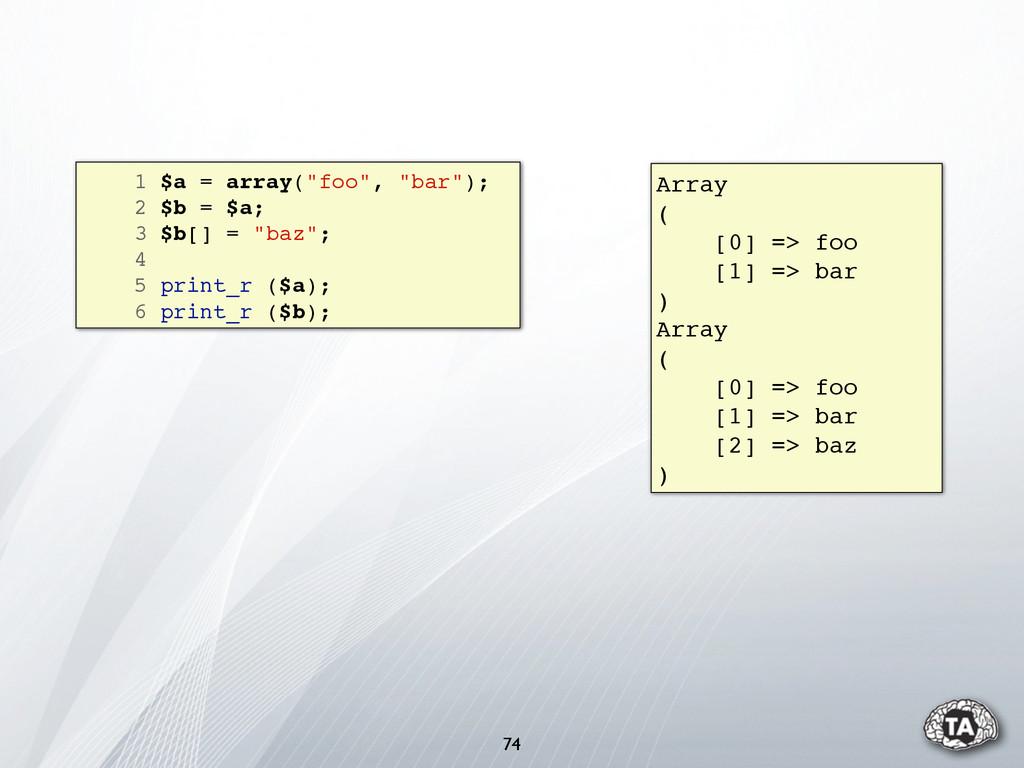 """74 1 $a = array(""""foo"""", """"bar""""); 2 $b = $a; 3 $b[..."""