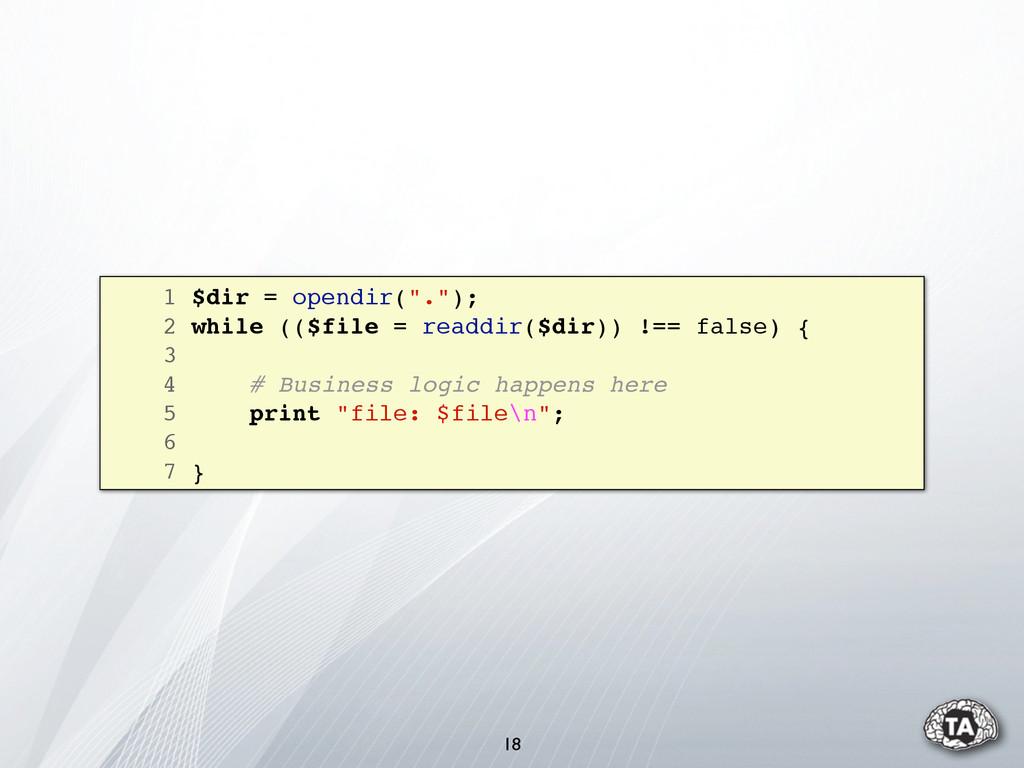 "1 $dir = opendir("".""); 2 while (($file = readdi..."