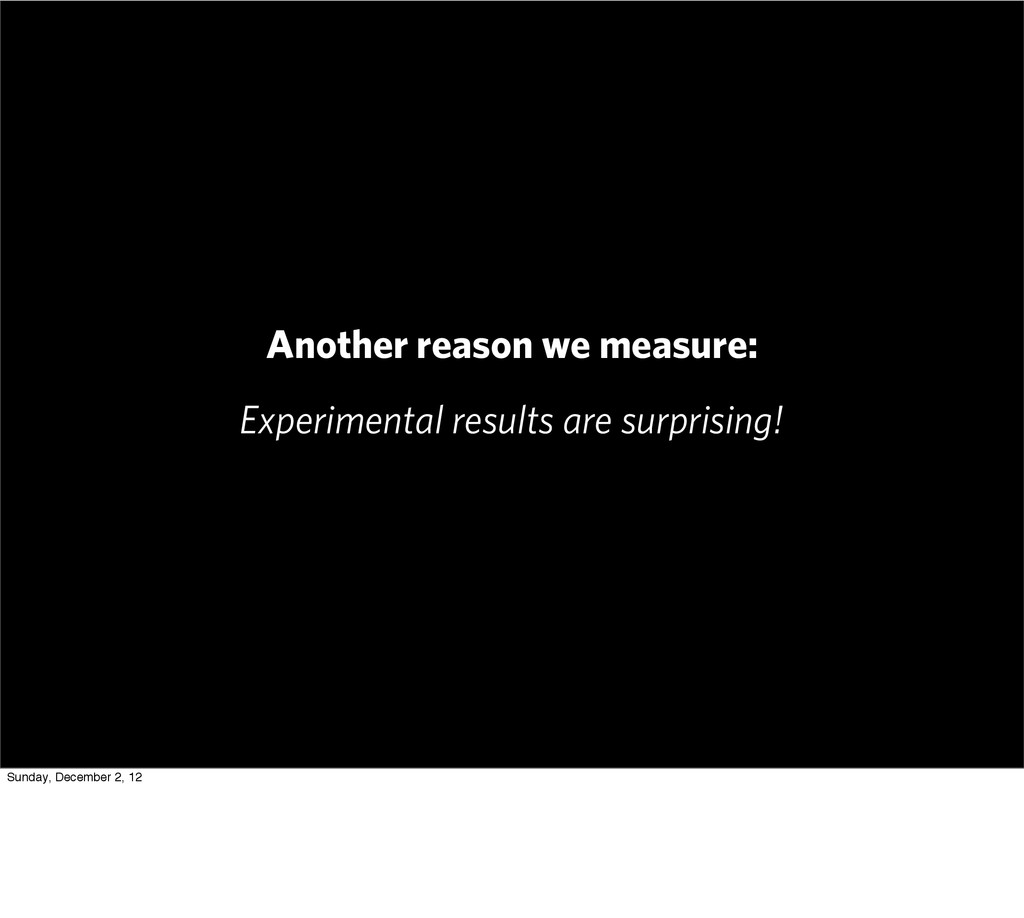 Another reason we measure: Experimental results...