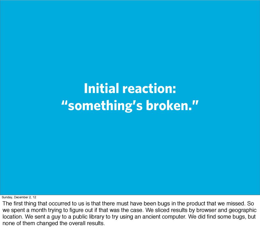 "Initial reaction: ""something's broken."" Sunday,..."