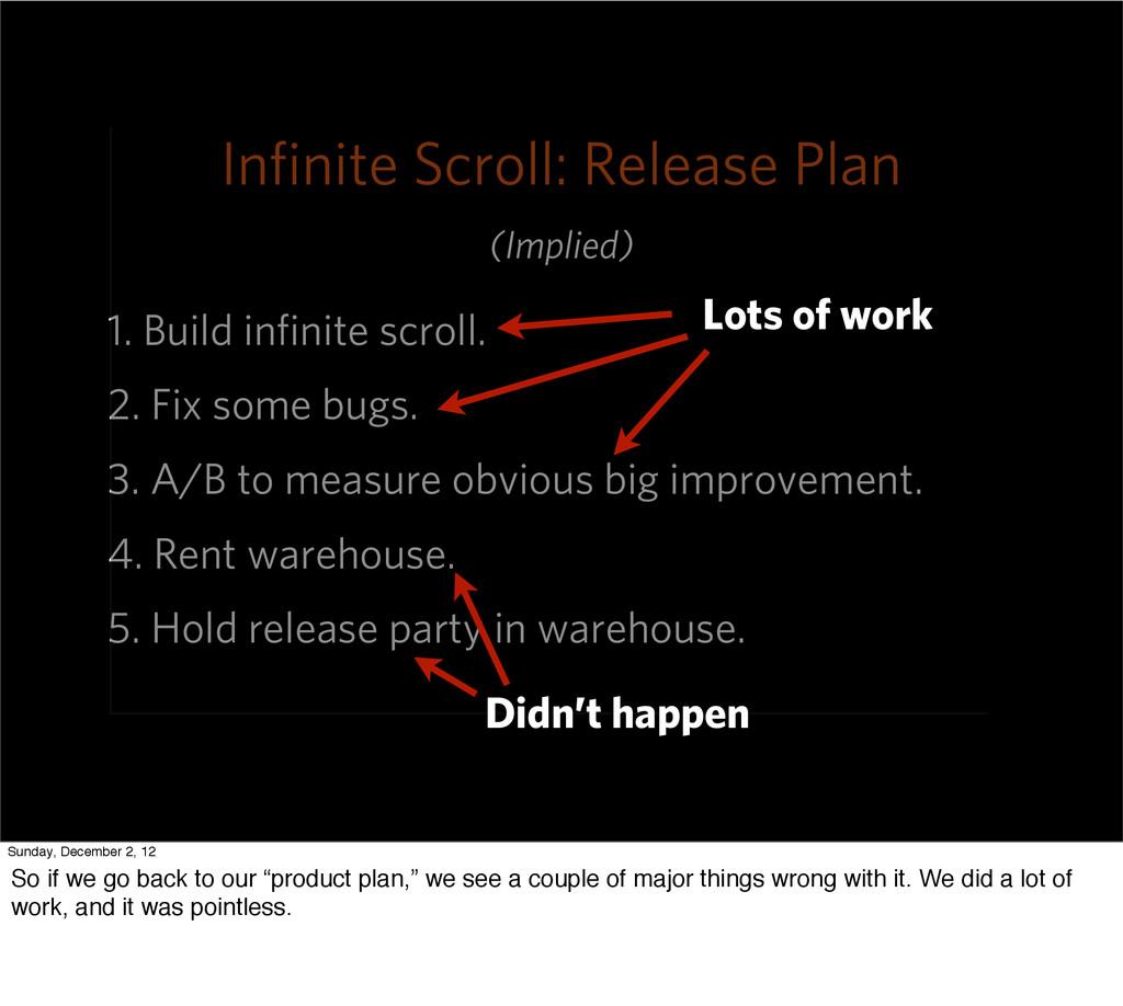 Infinite Scroll: Release Plan 1. Build infinite s...