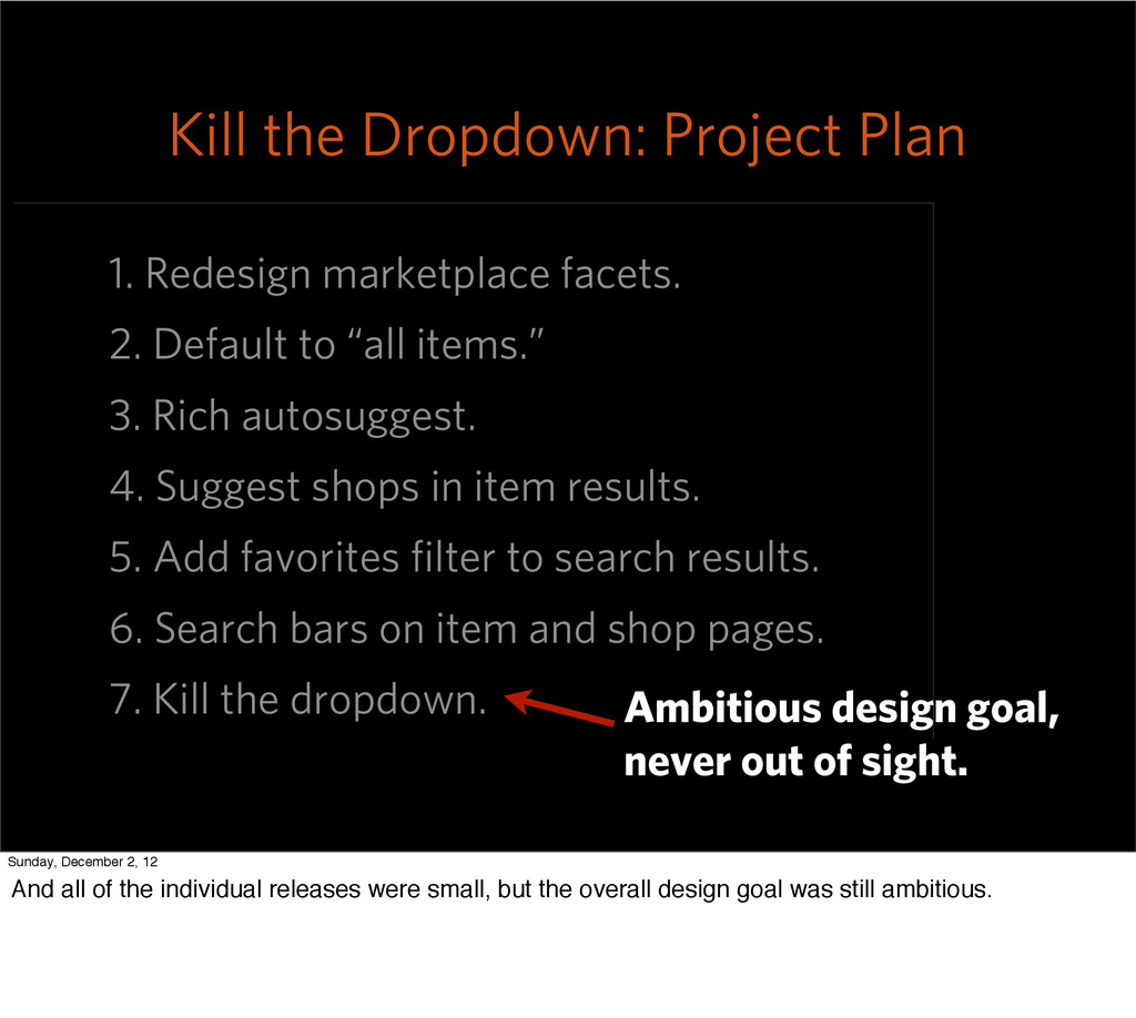 """1. Redesign marketplace facets. 2. Default to """"..."""