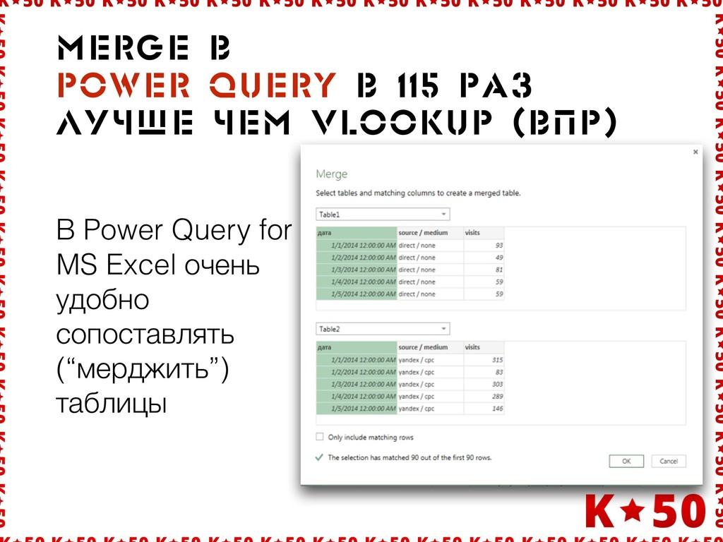 В Power Query for MS Excel очень удобно сопоста...