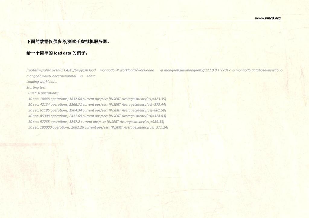 www.vmcd.org 下面的数据仅供参考,测试于虚拟机服务器。 给一个简单的 load d...