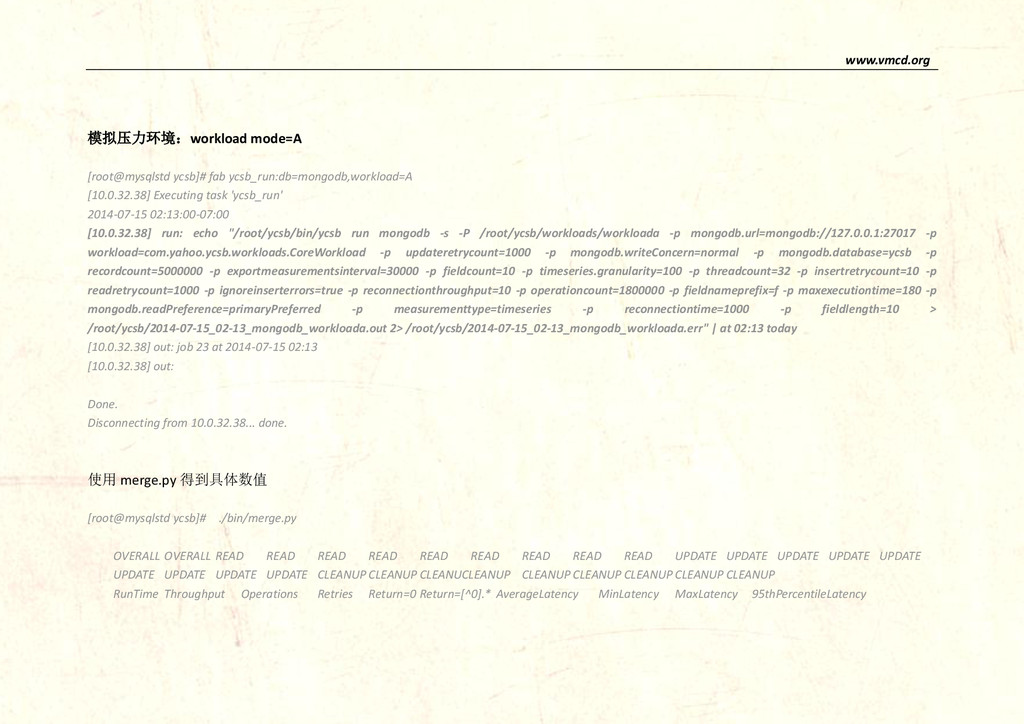 www.vmcd.org 模拟压力环境:workload mode=A [root@mysql...