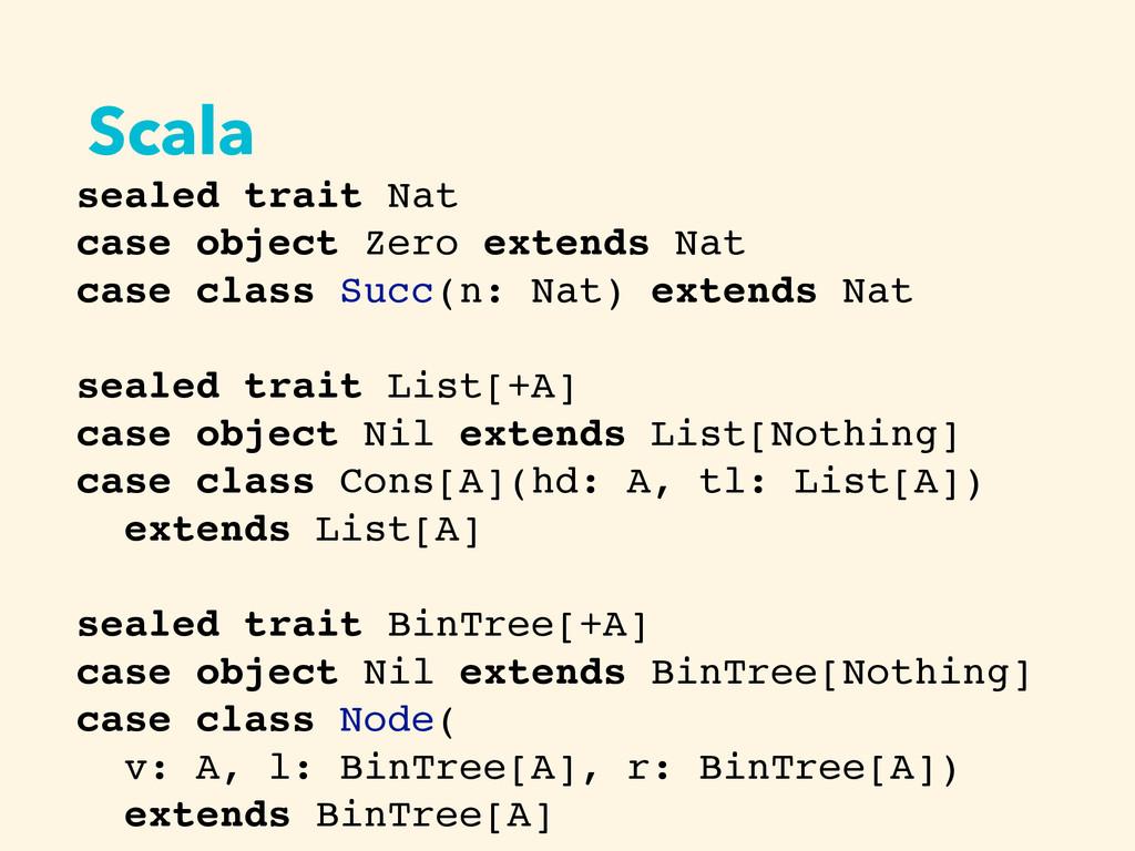 Scala sealed trait Nat case object Zero extends...