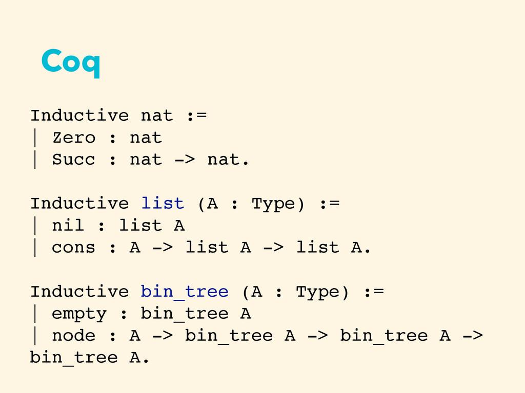 Coq Inductive nat :=   Zero : nat   Succ : nat ...