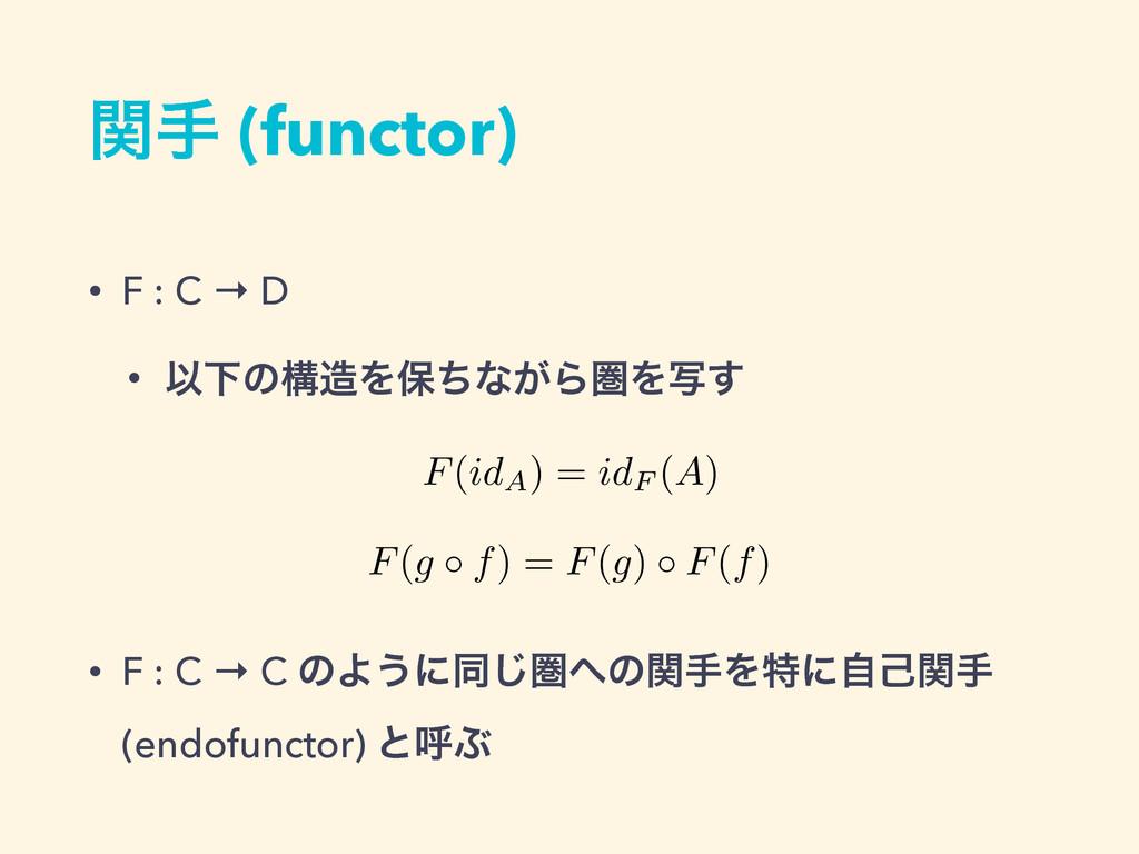 ؔख (functor) • F : C → D • ҎԼͷߏΛอͪͳ͕ΒݍΛࣸ͢ • F ...