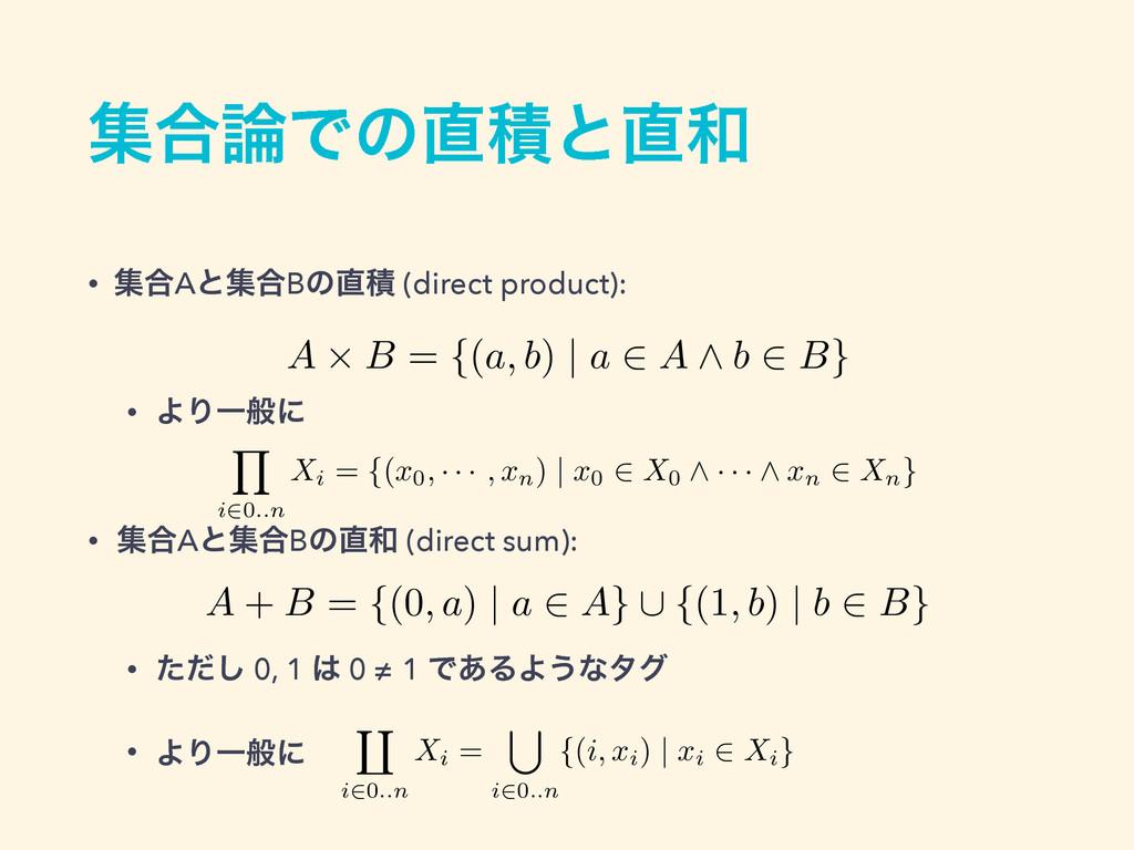 ू߹Ͱͷੵͱ • ू߹Aͱू߹Bͷੵ (direct product):  • Α...
