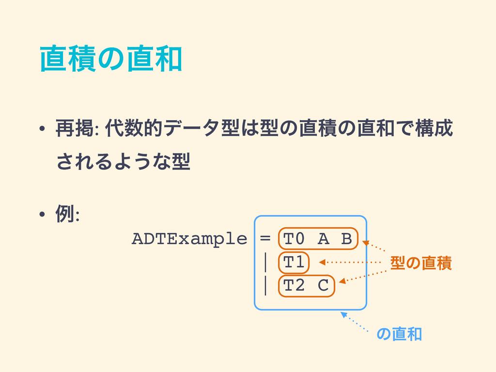 ੵͷ • ࠶ܝ: తσʔλܕܕͷੵͷͰߏ ͞ΕΔΑ͏ͳܕ • ྫ: ADT...