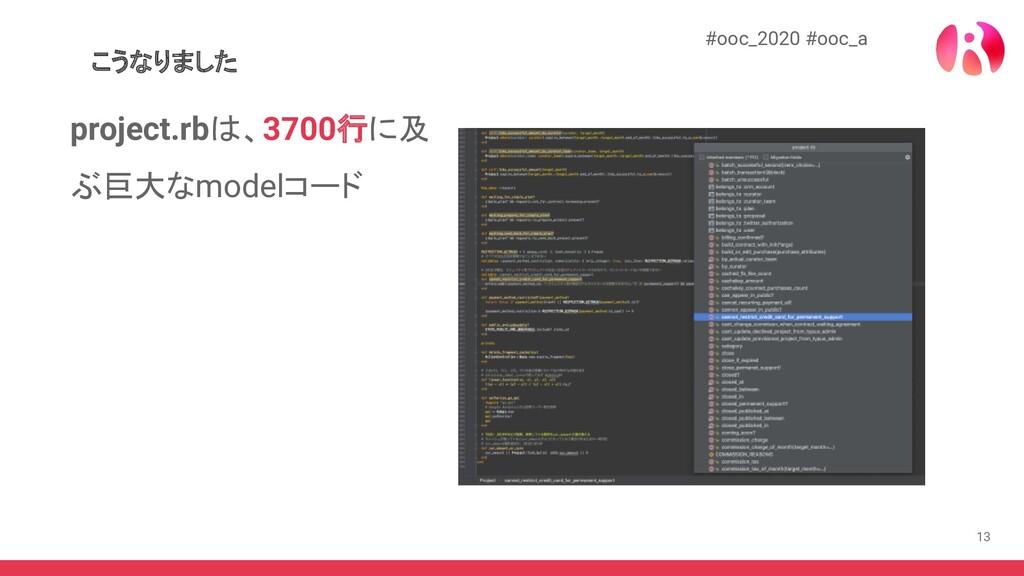 13 こうなりました #ooc_2020 #ooc_a project.rbは、3700行に及...
