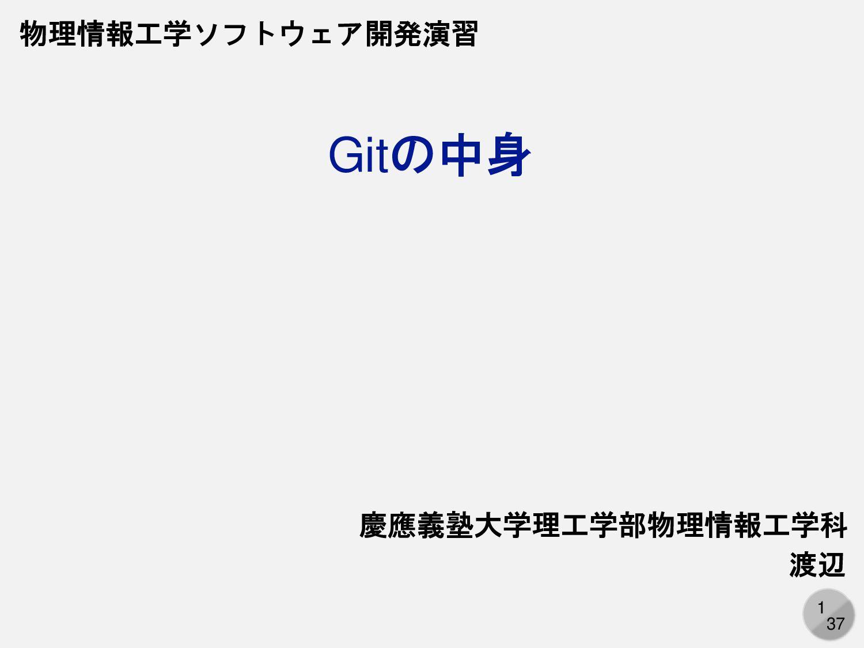1 Gitの中身 慶應義塾大学理工学部物理情報工学科 渡辺 物理情報工学ソフトウェア開発演習