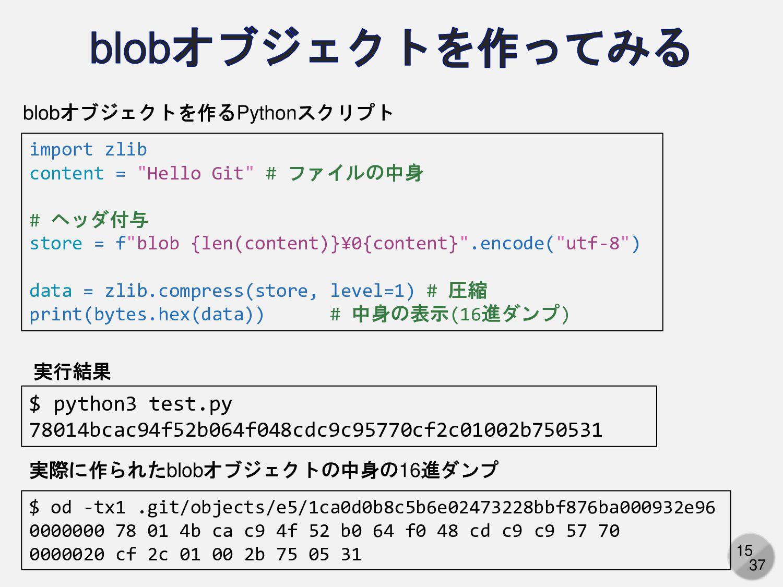 """15 import zlib content = """"Hello Git"""" # ファイルの中身 ..."""