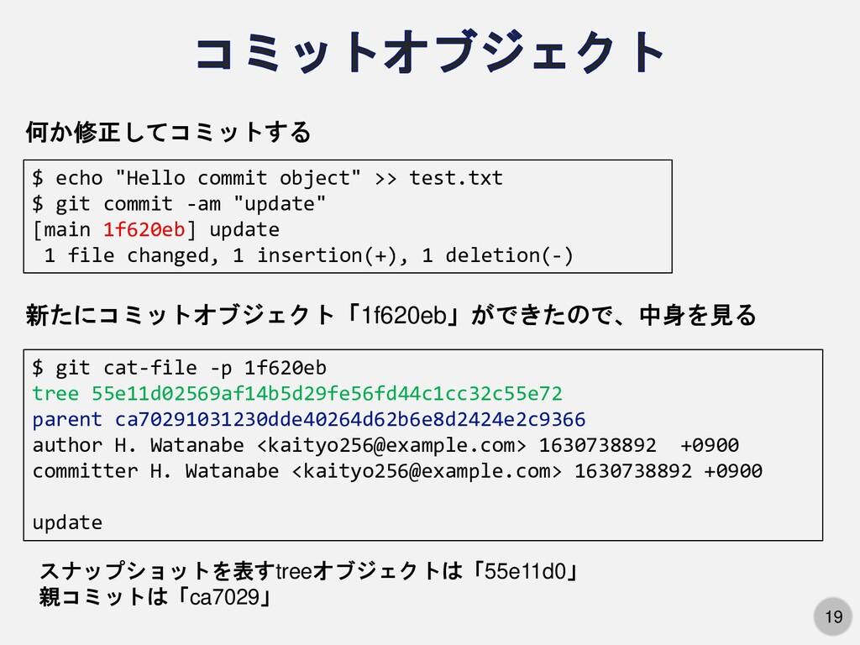 "19 $ echo ""Hello commit object"" >> test.txt $ g..."