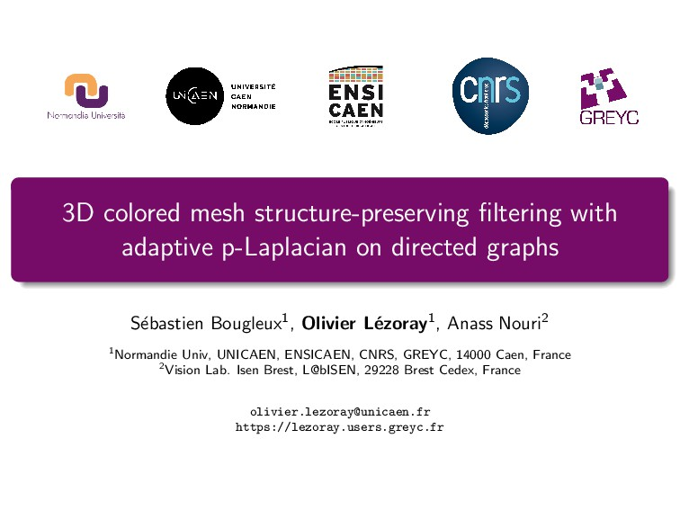 3D colored mesh structure-preserving filtering w...