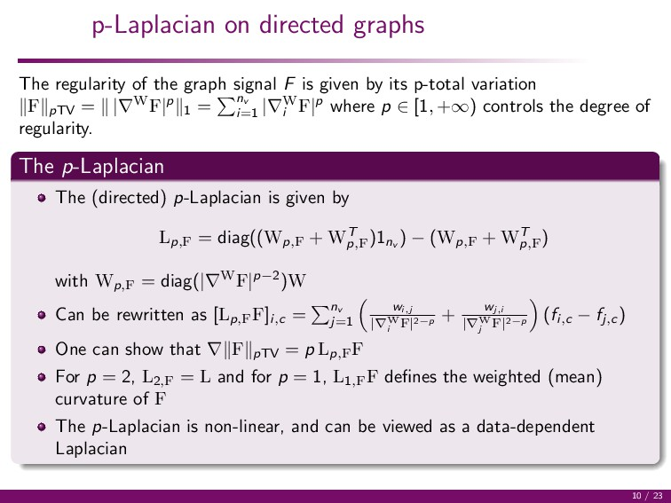p-Laplacian on directed graphs The regularity o...