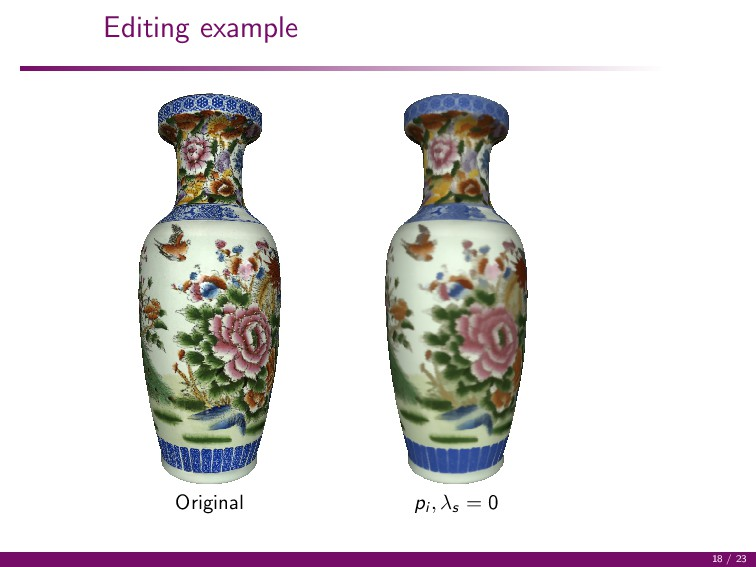 Editing example Original pi , λs = 0 18 / 23