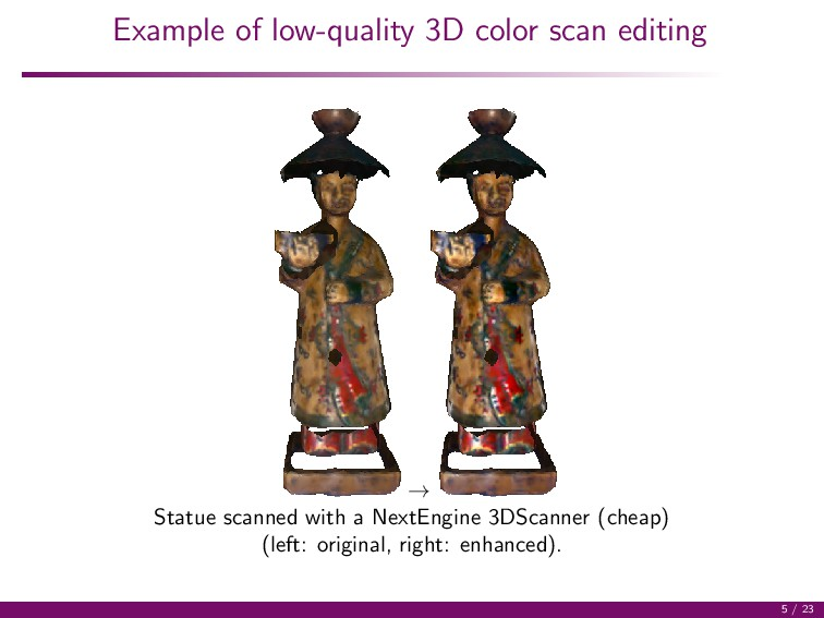 Example of low-quality 3D color scan editing → ...