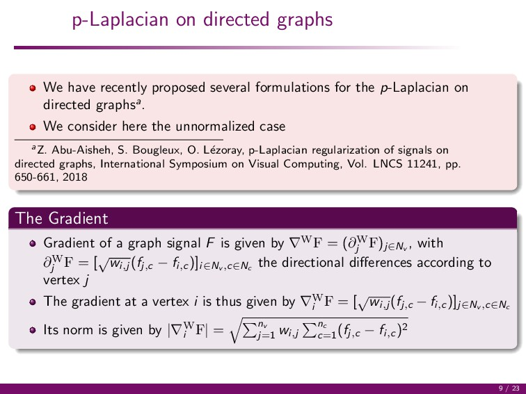 p-Laplacian on directed graphs We have recently...