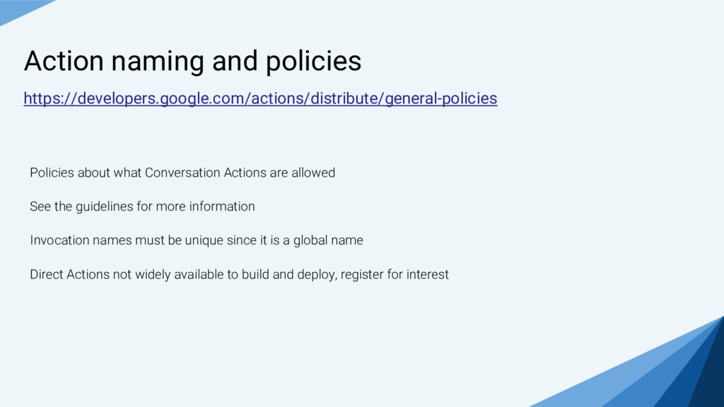 Action naming and policies https://developers.g...