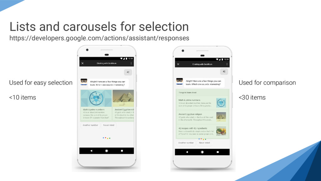 Lists and carousels for selection https://devel...