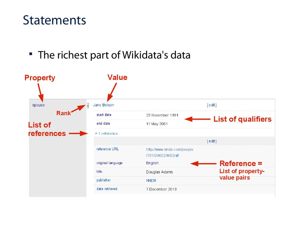 Statements  The richest part of Wikidata's dat...